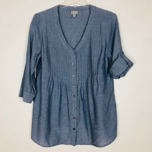 J Jill Womens Button Front Blouse Chambray Small
